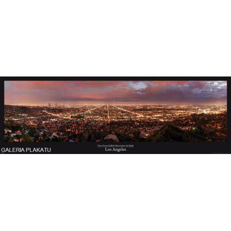 Los Angeles Nocą Panorama Miasta Plakat