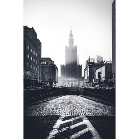 Warszawa W Kierunku Pałacu Kultury Plakat Premium