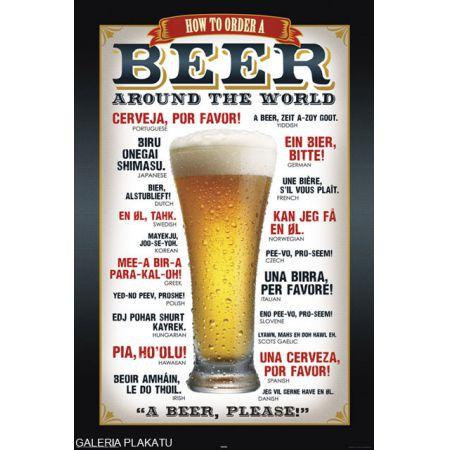 Piwo Proszę W Różnych Językach Plakat