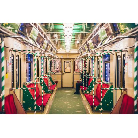 Warszawa świąteczne Metro Plakat Premium