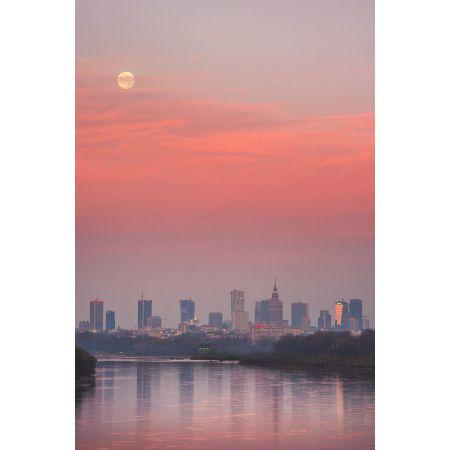 Warszawa Zachodzący Księżyc Plakat Premium