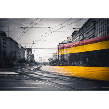 Warszawa Tramwaj Na Marszałkowskiej Plakat Premium