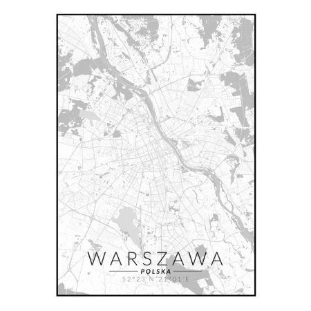 Warszawa Mapa Czarno Biała Plakat