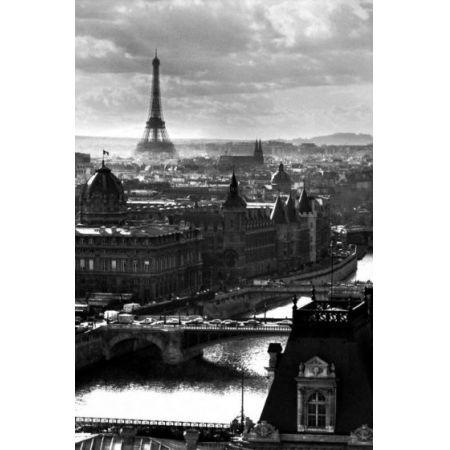 Paryż Panorama Miasta Wieża Eiffla Plakat